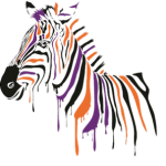 Xebra Accounting logo orange and purple striped xebra