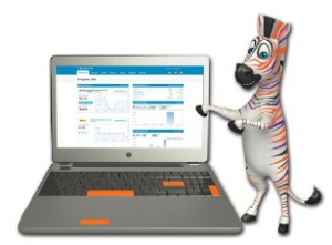 Zebra with a laptop